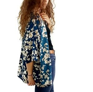 Jessy B Teal Blue Floral Wide Sleeve Kimono Duster